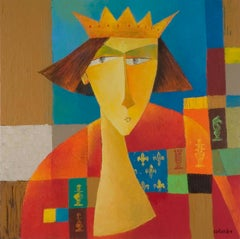 """Chess — The King"", Crowned Man in Red on Patchwork, Figurative Acrylic Painting"