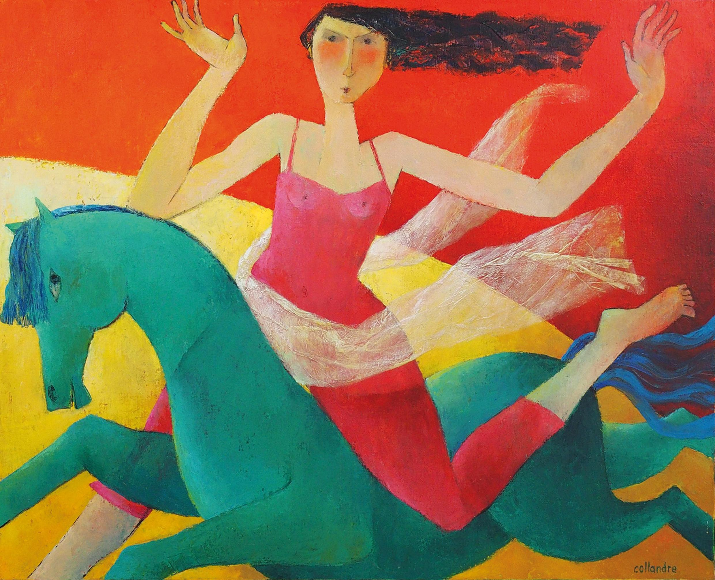 """""""The Small Horsewoman"""", Girl in Red on a Green Horse Figurative Acrylic Painting"""