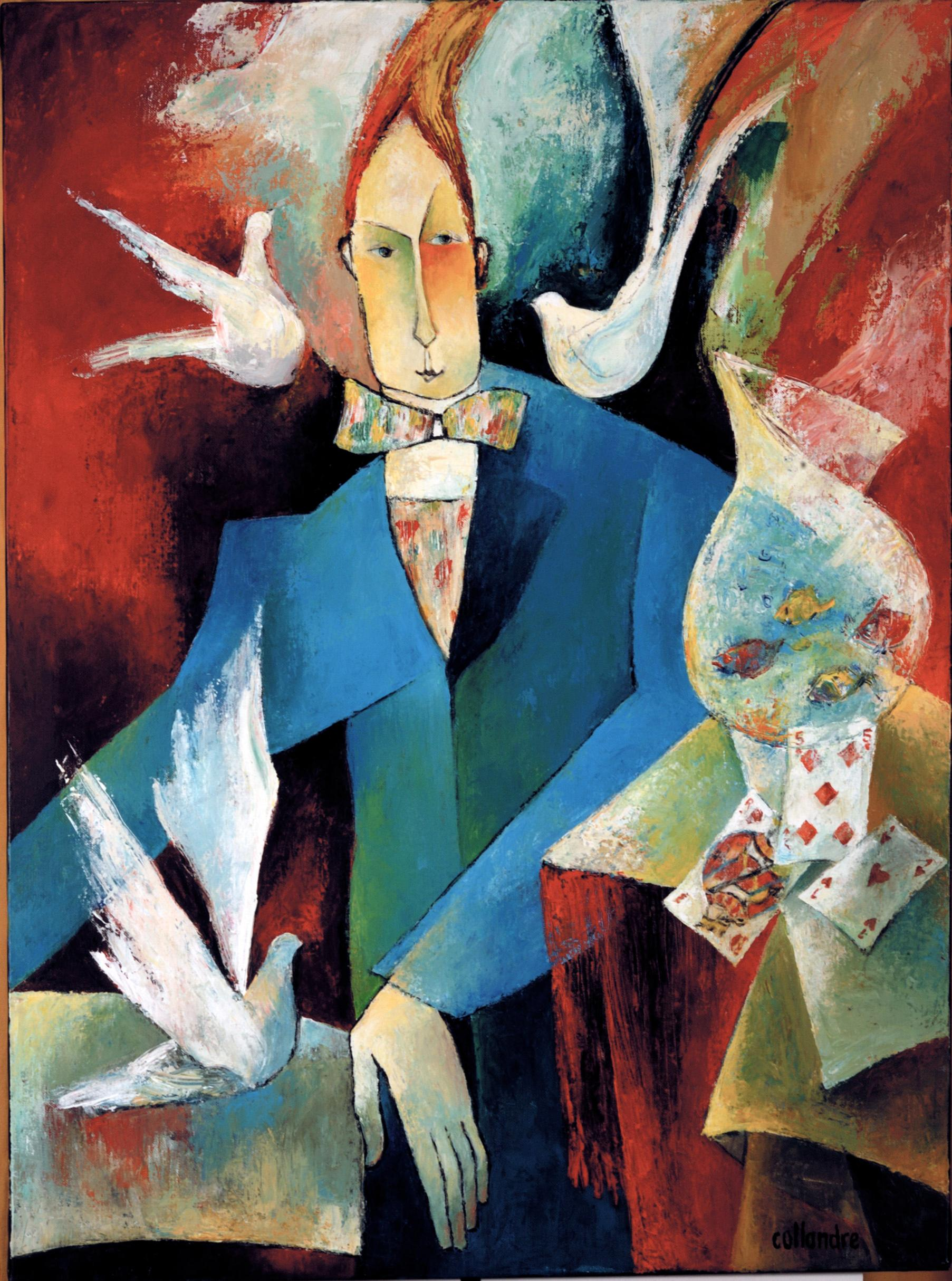"""""""The Prestidigitator"""", Man with Doves and Cards Figurative Acrylic Painting"""