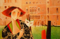 """Maybe See You Tonight"", Woman with Mask in Venice Figurative Acrylic Painting"