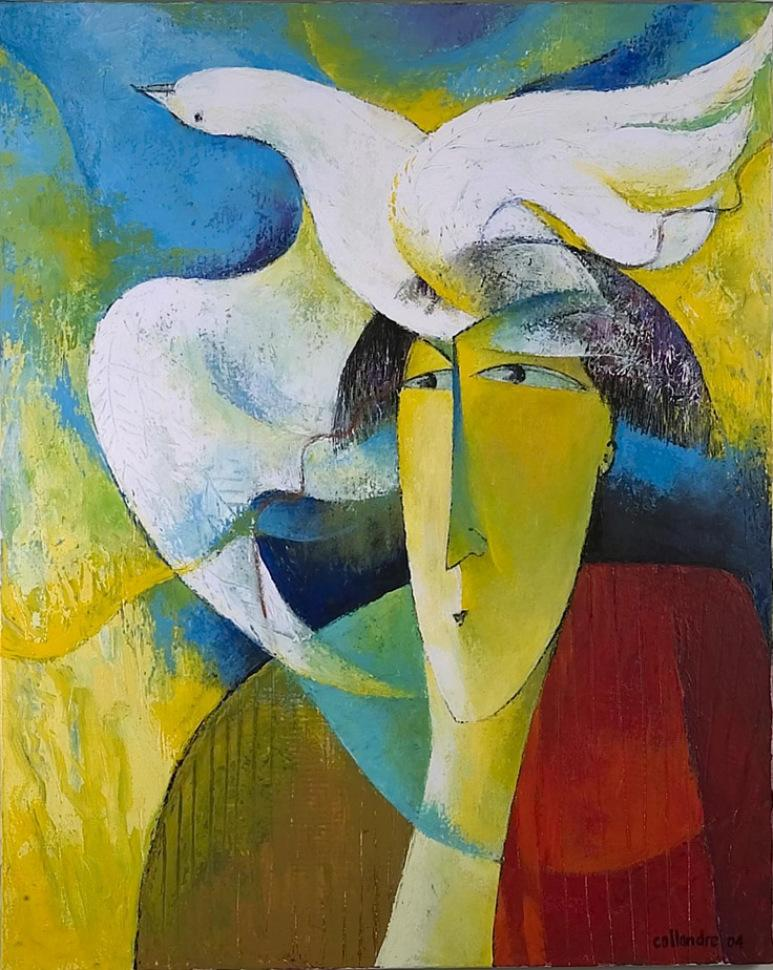 """""""Liberty Dreams"""", Dove Flying Out of a Human's Mind Figurative Acrylic Painting"""