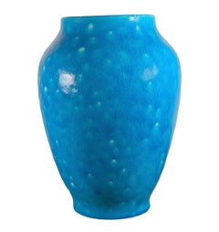 Raoul Lachenal Large Crackle Glaze Egyptian Blue French Baluster Ceramic Vase