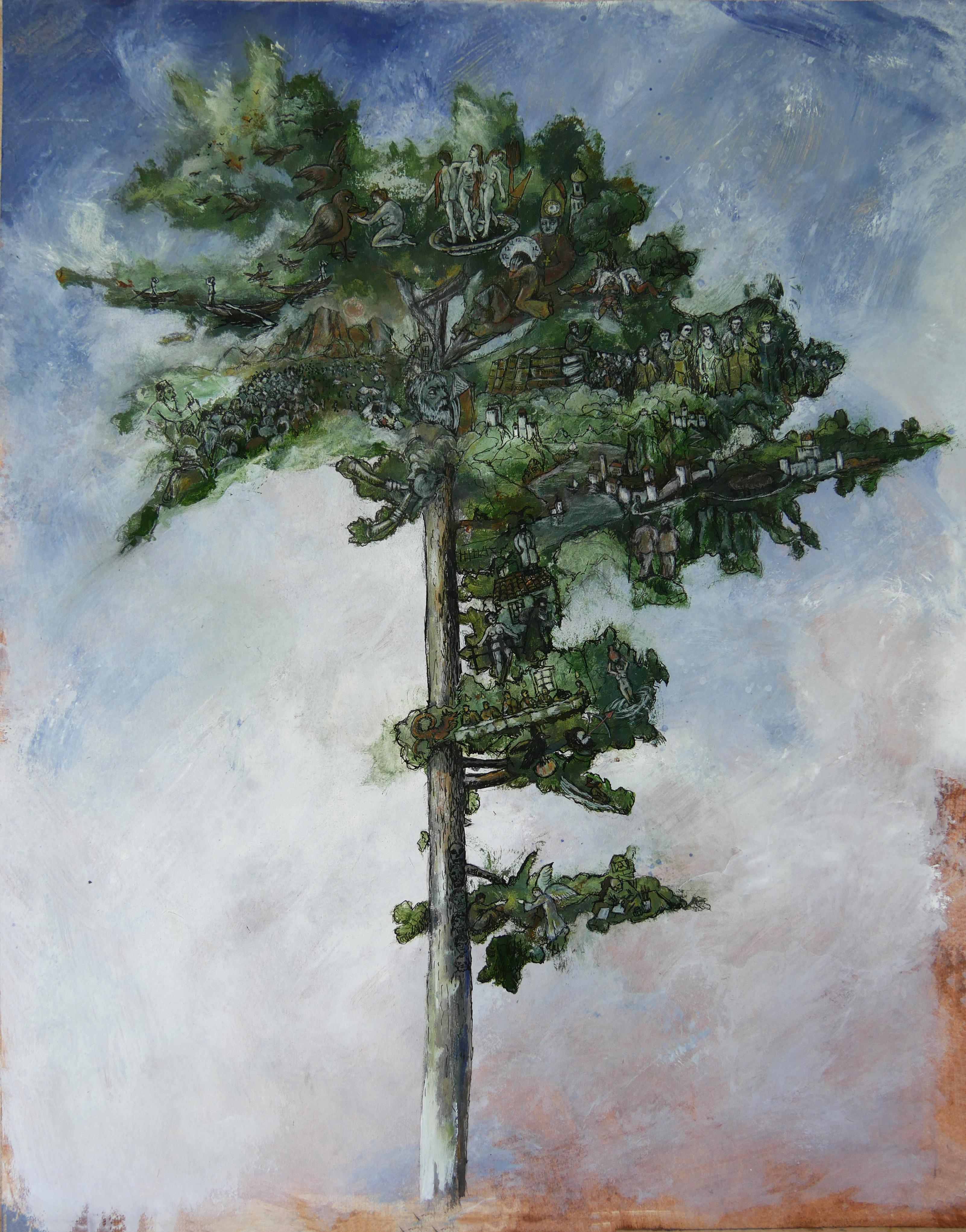 """""""Great Pine"""", Tree Inhabited by Human in Nature, Drawing and Pigments on Paper"""