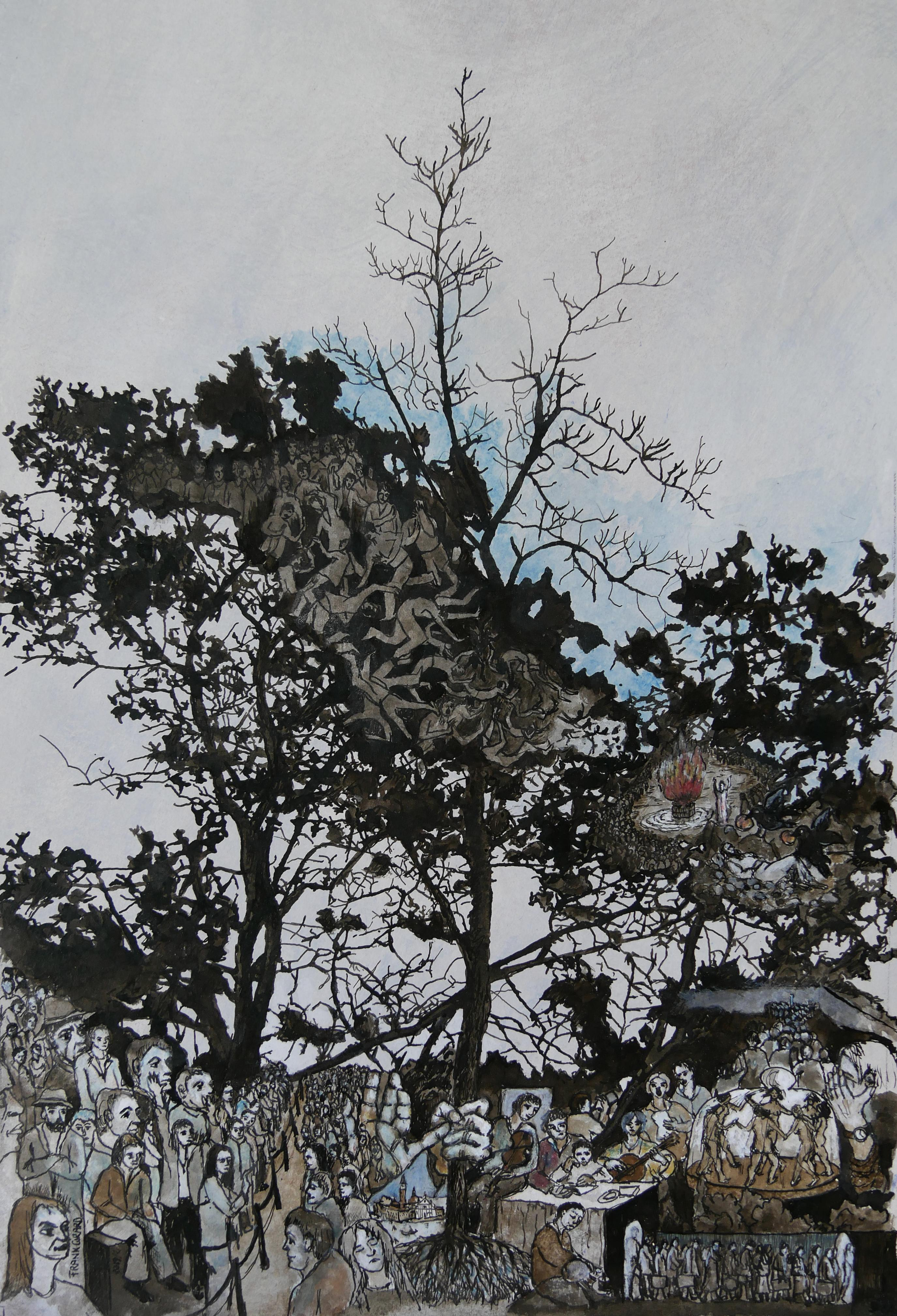 """""""Elie"""", Trees Inhabited by Human in Nature, Pigments Ink Drawing on Paper"""