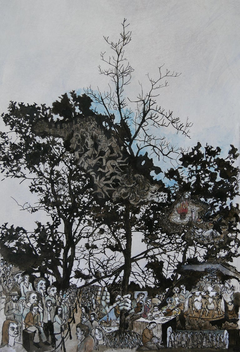 """Frank Girard Landscape Art - """"Elie"""", Trees Inhabited by Human in Nature, Pigments Ink Drawing on Paper"""