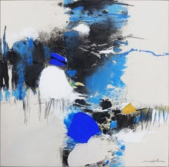 """""""Of Uniqueness & Infinity"""", Blue abstract Landscape Expressionist Painting"""