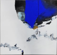 """Of emptiness & Life"", White Blue Freehand Landscape Expressionist Painting"