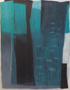 """""""White Promise"""", Blued Green Black Lines Formless White Abstract Oil Painting"""