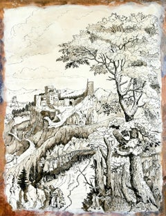 """""""Bethuel's Daughter"""", Humans Nature Pigment Chinese Ink Landscape Drawing"""