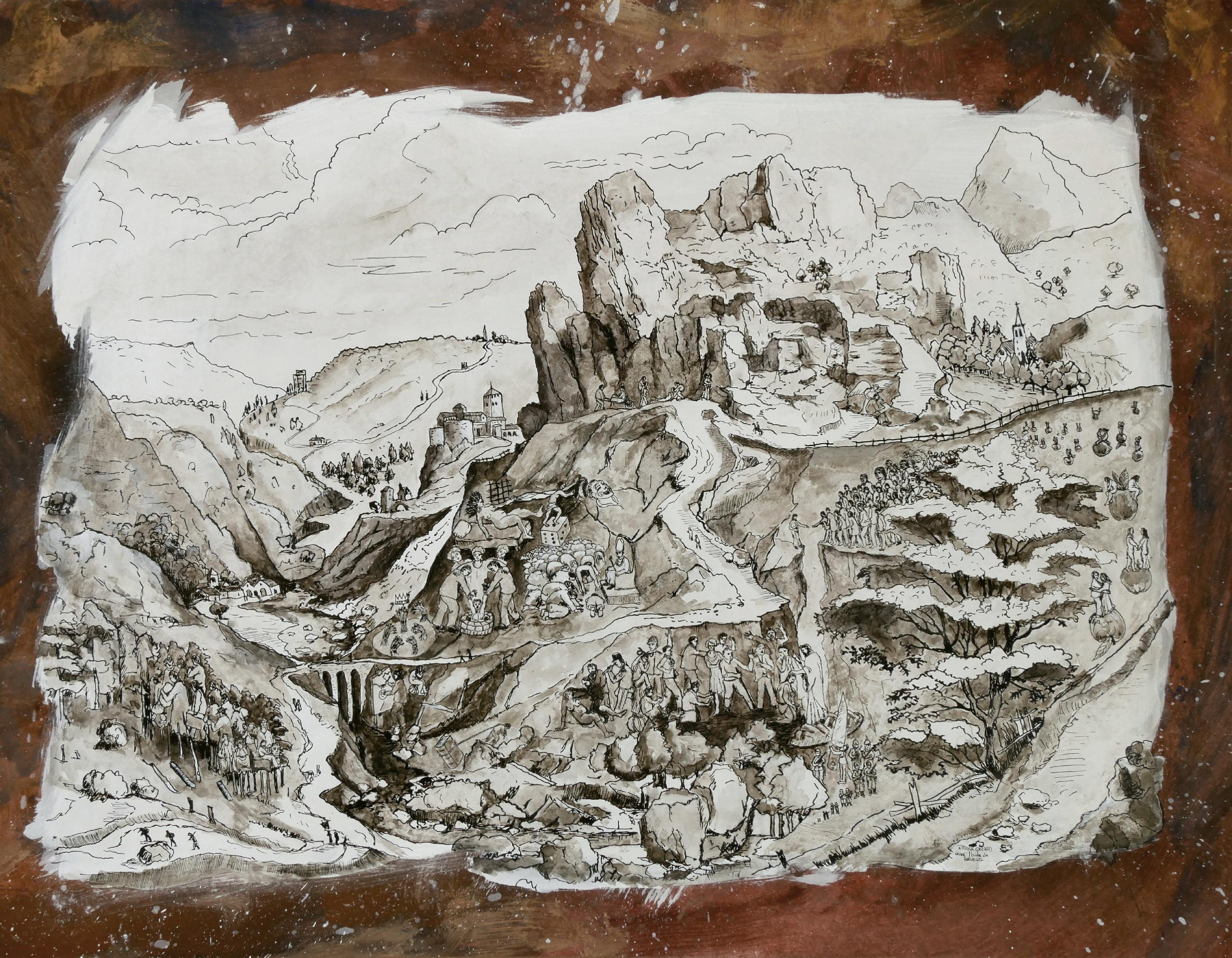 """""""Joseph's Mountain"""", Humans in Nature, Pigment & Chinese Ink Landscape Drawing"""
