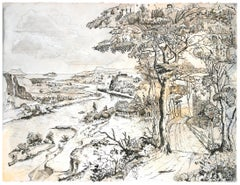 """""""My House by the River"""", Humans in Nature Pigment Chinese Ink Landscape Drawing"""