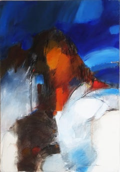 """""""Of Energy & Fire"""", Blue Sky Landscape Abstract Expressionist Oil Painting"""