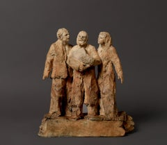 """""""Origin"""", A Woman and A man Become Three People, Bronze Sculpture"""