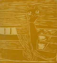 Linocut Abstract - Clever Cat Standing in Rich Gold Tones