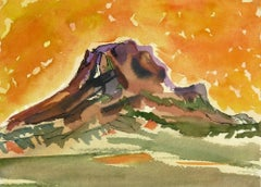 Watercolor - Fiery Mountain Top Landscape
