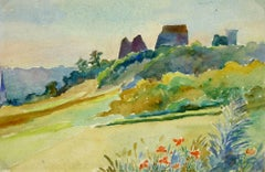 Watercolor Landscape - Chateau de la Madeleine - Chevreuse, France