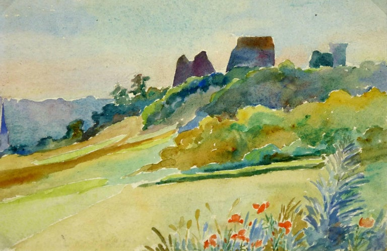 Unknown Landscape Art - Watercolor Landscape - Chateau de la Madeleine - Chevreuse, France
