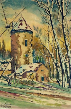 French Watercolor Winter Landscape - Neige Couverte Vieux Moulin en Alsace