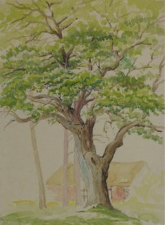 Watercolor Landscape - Majestic Oak with Country Home in Background