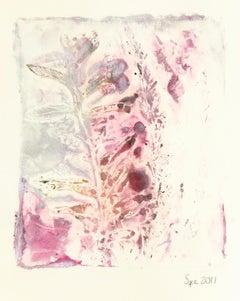 English Purple-Hued Watercolor Painting - Abstract Leaf Impressions