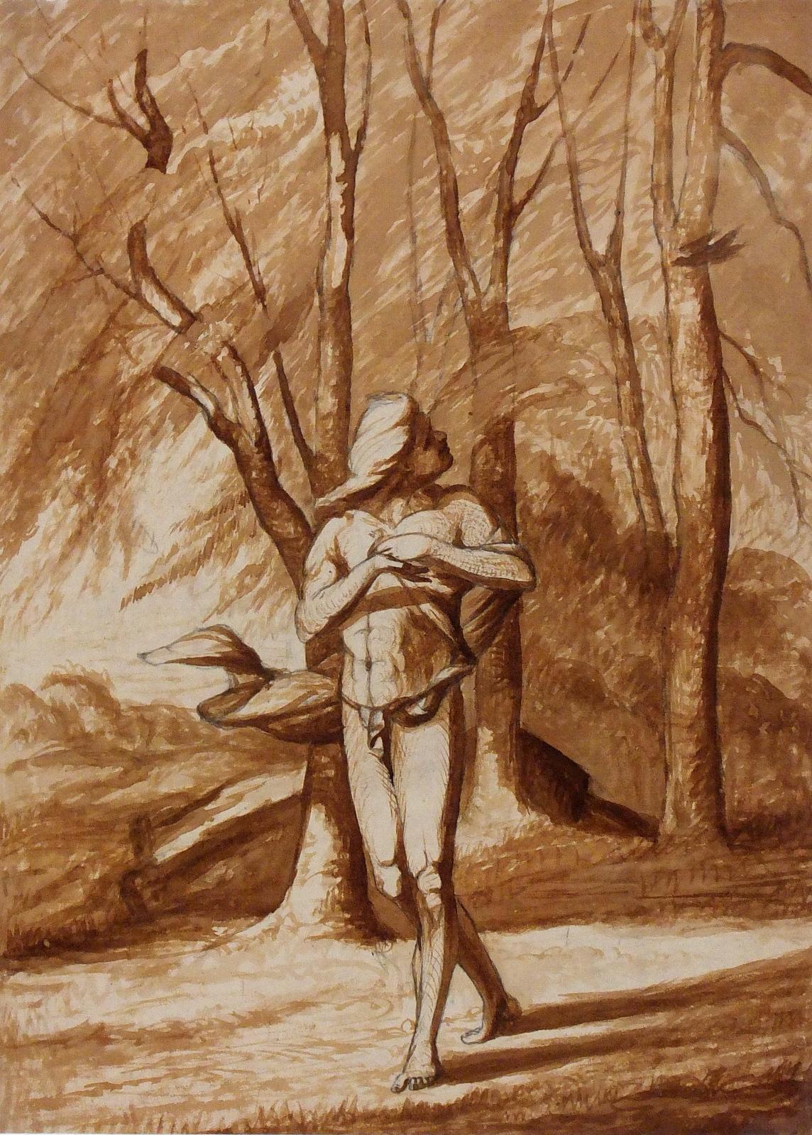 Landscape Watercolor - Sanguine Terracotta Forest Scene