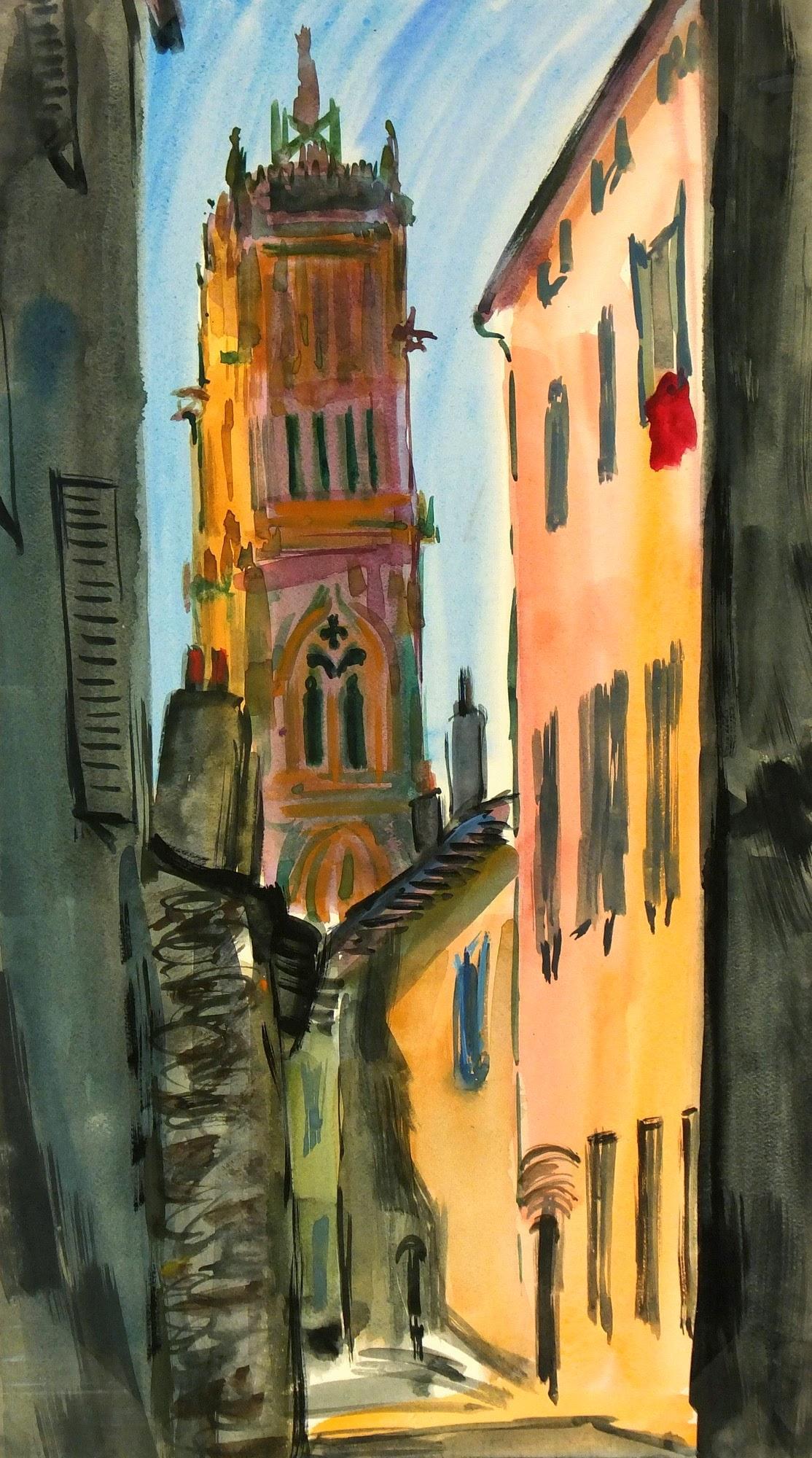 Landscape - Gouache City Cathedral