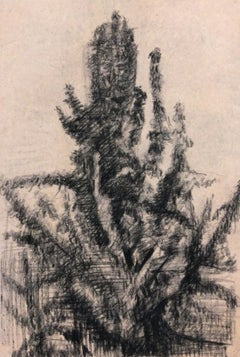 Charcoal Abstract Drawing - Expressive French Tree