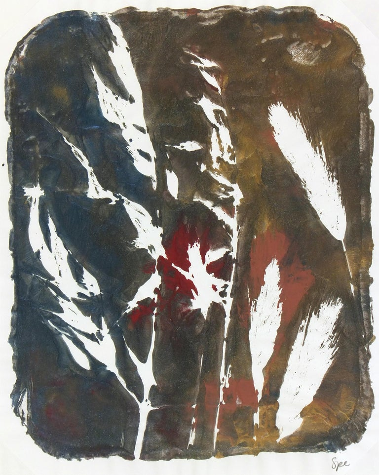 Modern abstract painting of grass and leaves artist Spe, 2013. Signed lower right.    Original artwork on paper displayed on a white mat with a gold border. Mat fits a standard-size frame.  Archival plastic sleeve and Certificate of Authenticity