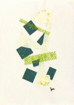English Modern  Geometric Collage Blues, Greens, and Yellows