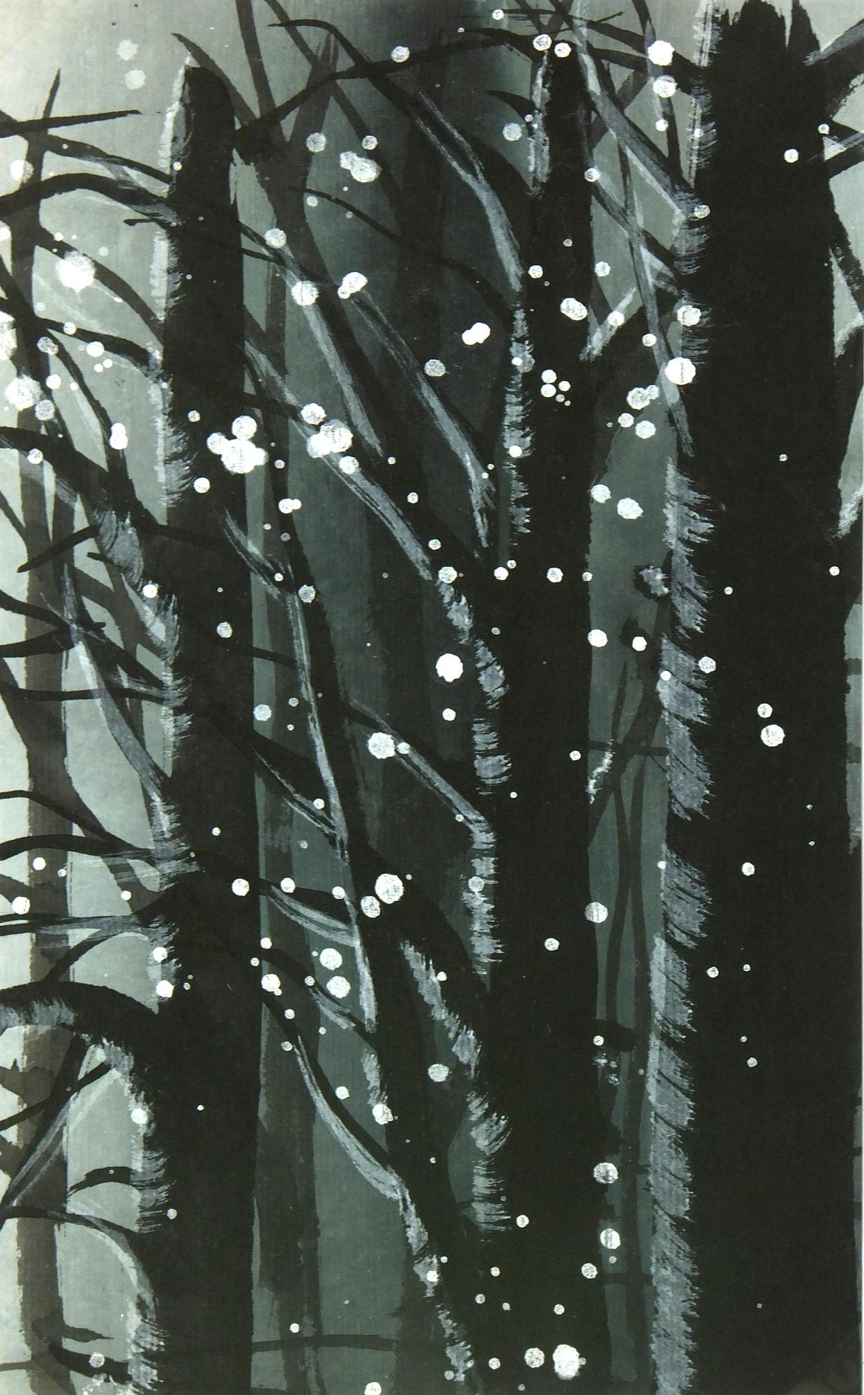 Landscape Gouache - Winter Forest Snow