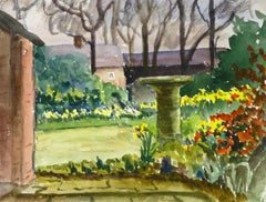 English Watercolor Landscape - Garden Nook with Birdbath