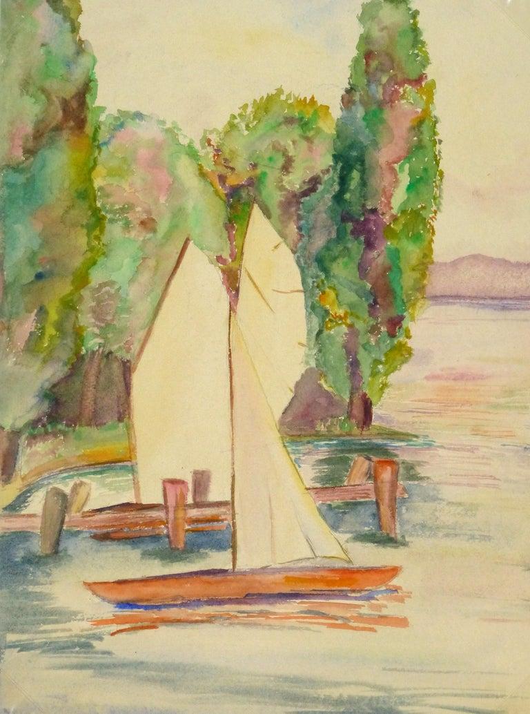 Erika Schob Landscape Art - Lakeside Watercolor - Sailboats on the Lake