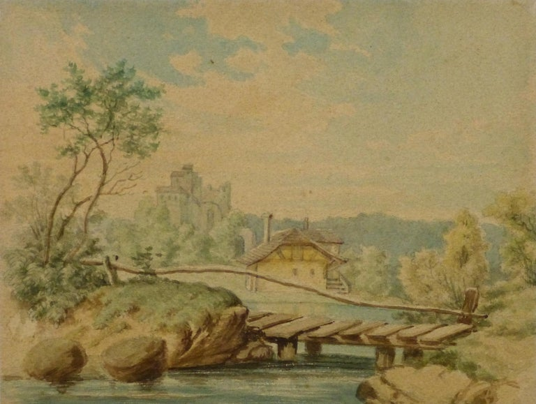 Unknown Landscape Art - Watercolor - Tudor Style Cottage by The Lake