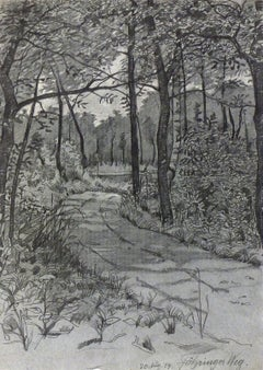 German Pencil Landscape - The Country Road Less Traveled