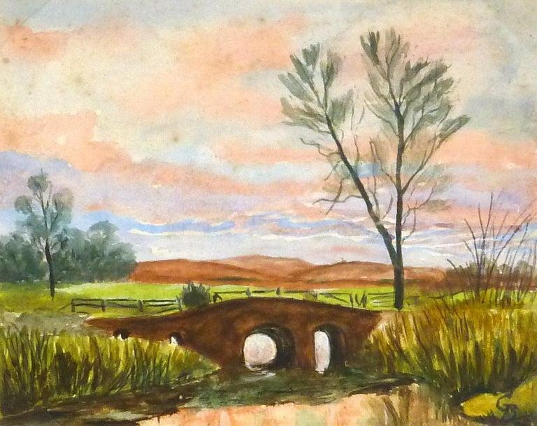 G. Buckthorp Landscape Art - English Countryside Landscape - Bridge at Dusk