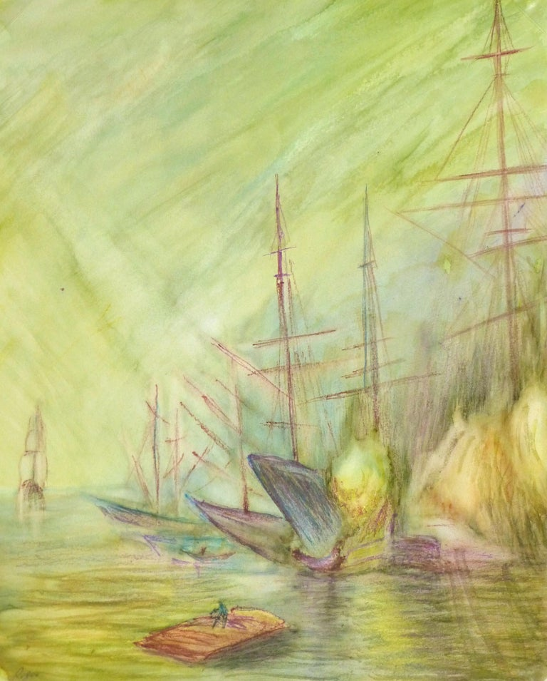 Unknown Landscape Art - Abstract Watercolor - Painting of Ships