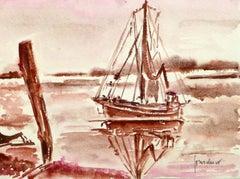 French Seascape - Sailing Vessel in Crimson Tide