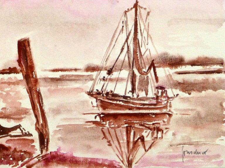 Unknown Landscape Art - French Seascape - Sailing Vessel in Crimson Tide