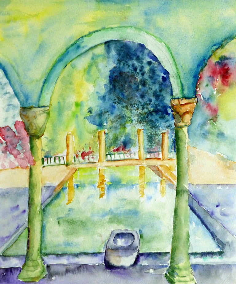 Monique Tachdjian Landscape Art - French Watercolor - Italian Villa Pool
