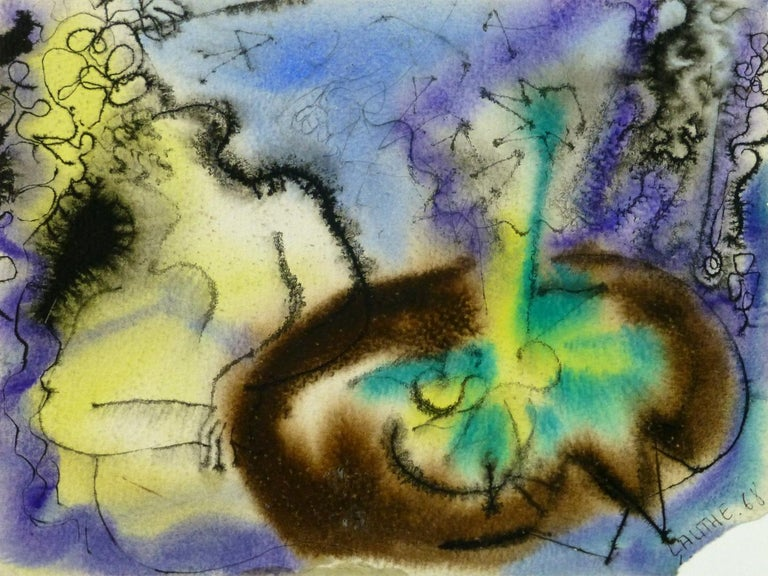 Jean-Charles Lauthe Abstract Drawing - Water Color Abstract - Figures at the Table