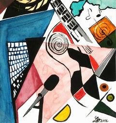 Abstract Watercolor - La Guitare (The Guitar)