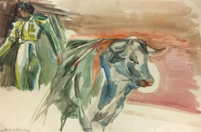 Magdalena Reinharez Figurative Art - Watercolor Bullfight Painting - The Matador