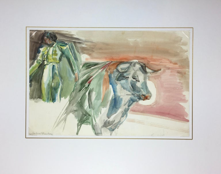 Watercolor Bullfight Painting - The Matador - Beige Figurative Art by Magdalena Reinharez