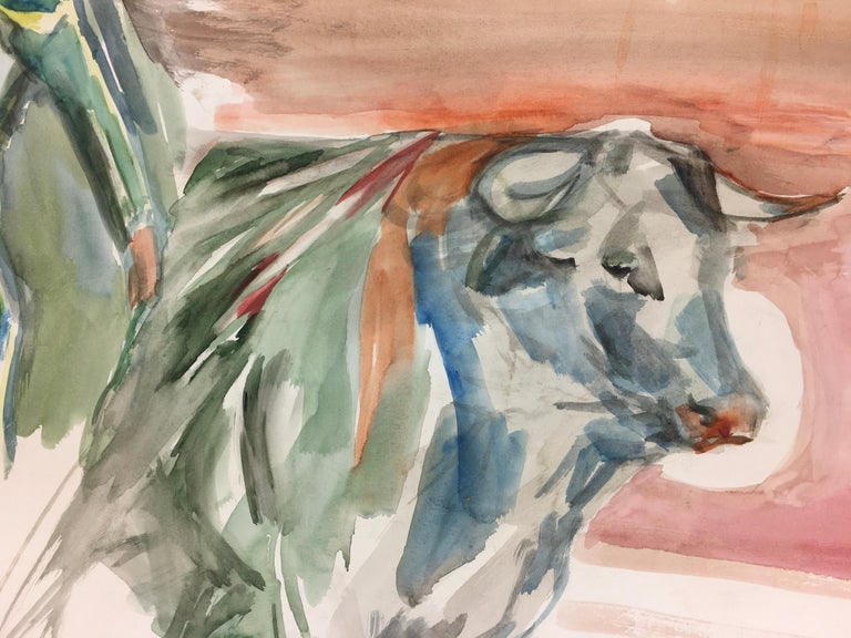 Watercolor Bullfight Painting - The Matador - Art by Magdalena Reinharez