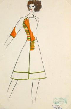 Vintage Paris Fashion Drawing - Mod Coat Dress, c. 1980