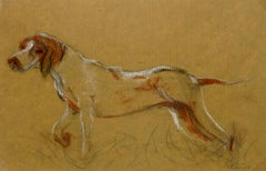 Dog Pencil Drawing, Sketch - Louisette Poirier, The Hunting Hound, c. 1960