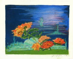 Vibrant Colored Pastel with Blue Background- Waterside Bloom