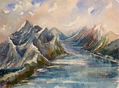 Watercolor Painting - High Alpine Lake Landscape