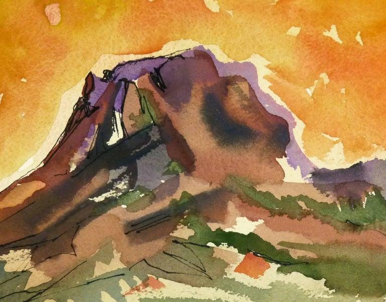 Watercolor - Fiery Mountain Top Landscape - Art by Unknown