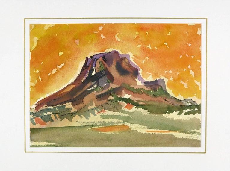 Watercolor - Fiery Mountain Top Landscape - Brown Landscape Art by Unknown